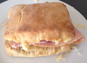 Cheese and ham biscuit sandwich