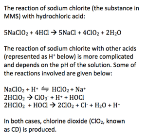 The chemistry of sodium chlorite (the substance in MMS) with acids.