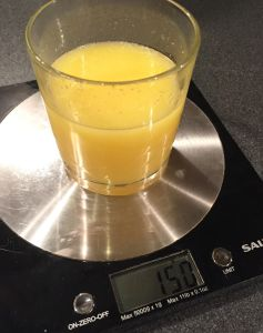 Even a really small glass of fruit juice contains about 150 g.