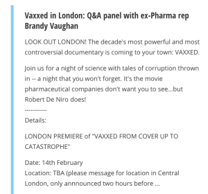 "The heyevent.uk page on Vaxxed, explaining that the location will be ""annnounced"" two hours before the screening."