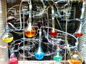 A complicated arrangement of chemical glassware