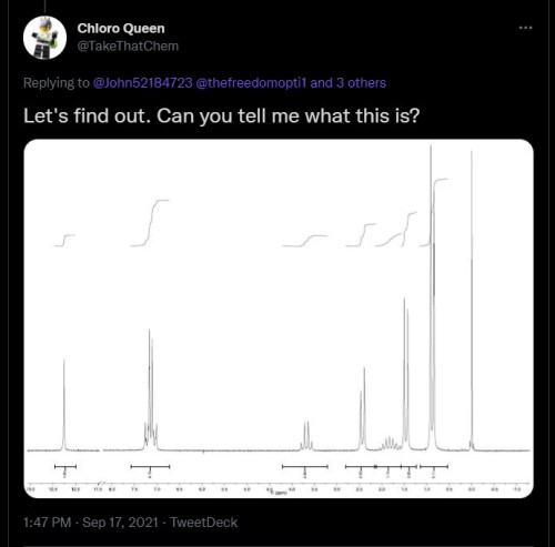 Screenshot of tweet by @TakeThatChem showing an NMR spectrum (link in text)